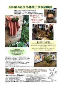 11月の展覧会「2018初冬彩点 小林斐子草木染織展」